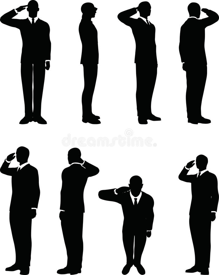 het zakenmansilhouet in het groeten stelt geïsoleerd op witte achtergrond stock illustratie
