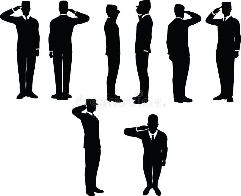 het zakenmansilhouet met leger GLB in het groeten stelt geïsoleerd op witte achtergrond royalty-vrije illustratie