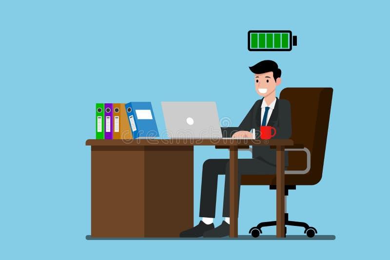 Het zakenmanwerk zeer gelukkig met volledig energie stock illustratie