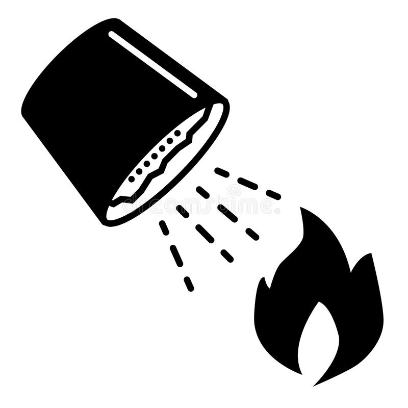 Het zand, emmer, steekt stevig pictogram in brand Vectordieillustratie op wit wordt geïsoleerd glyph stijlontwerp, voor Web dat e royalty-vrije illustratie