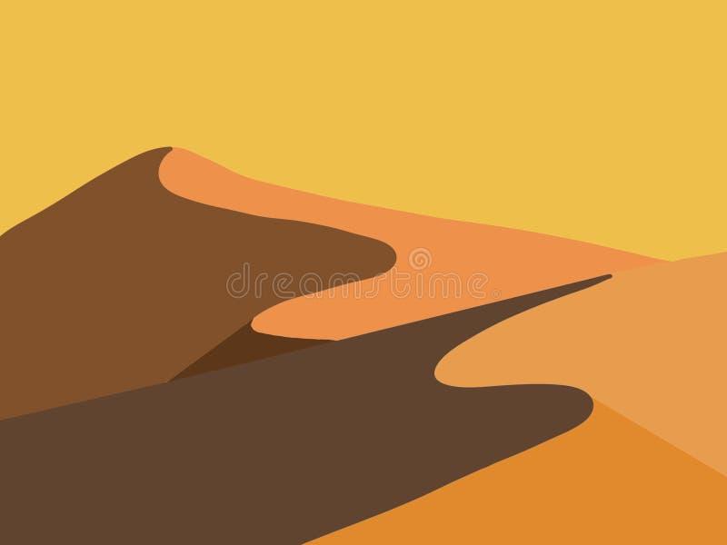 Het zand van de zandwoestijn met onzorgvuldige bergen vector illustratie