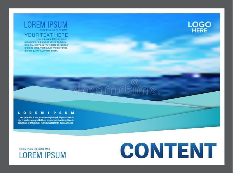 Het zeegezicht en de blauwe van het de lay-outontwerp van de hemelpresentatie het malplaatjeachtergrond voor toerisme reizen zake stock illustratie