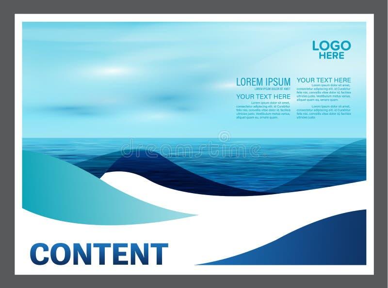 Het zeegezicht en de blauwe van het de lay-outontwerp van de hemelpresentatie het malplaatjeachtergrond voor toerisme reizen zake royalty-vrije illustratie