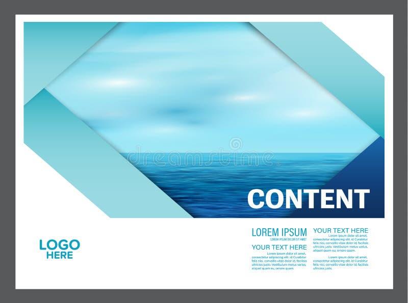 Het zeegezicht en de blauwe van het de lay-outontwerp van de hemelpresentatie het malplaatjeachtergrond voor toerisme reizen zake vector illustratie