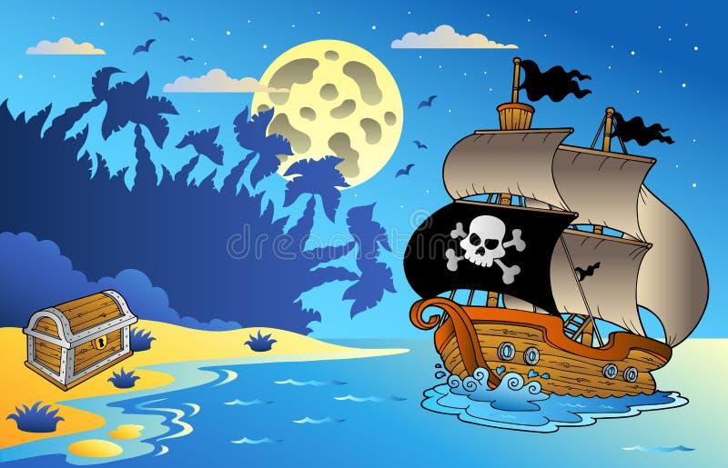 Het zeegezicht van de nacht met piraatschip 1