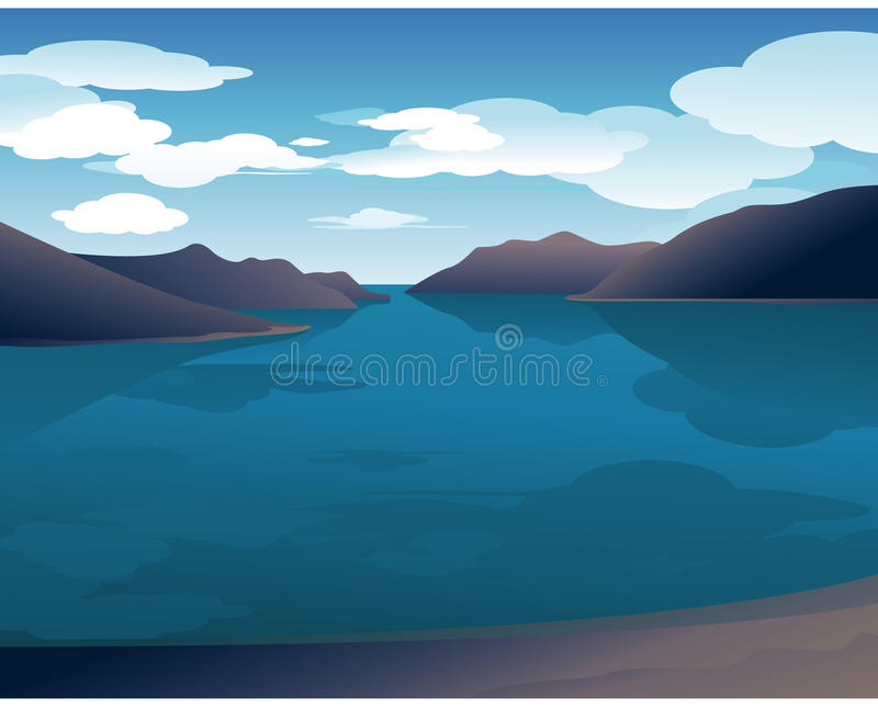 Het zeegezicht van de zomer vector illustratie