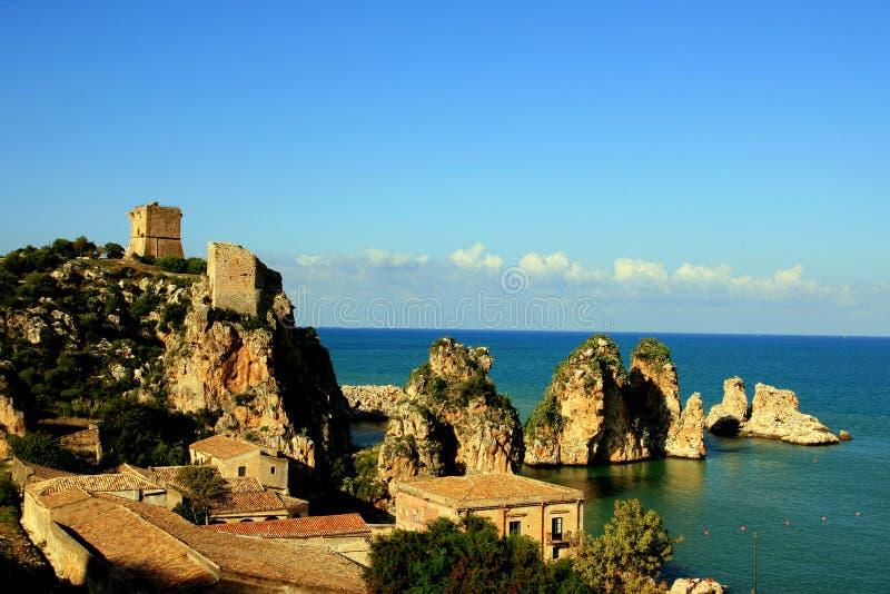 Het zeegezicht van Sicilië, Scopello royalty-vrije stock foto