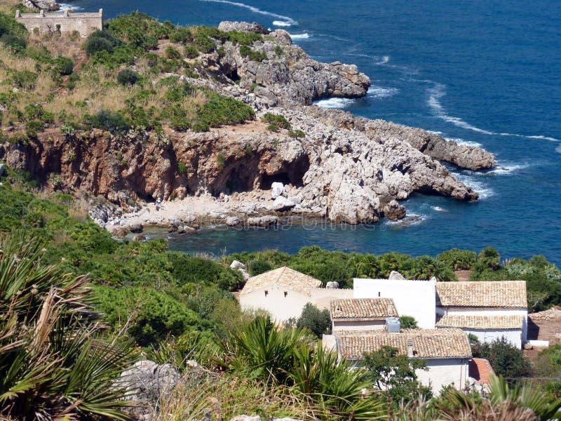 Het zeegezicht van Sicilië, Zingaro natuurlijke reserve stock foto