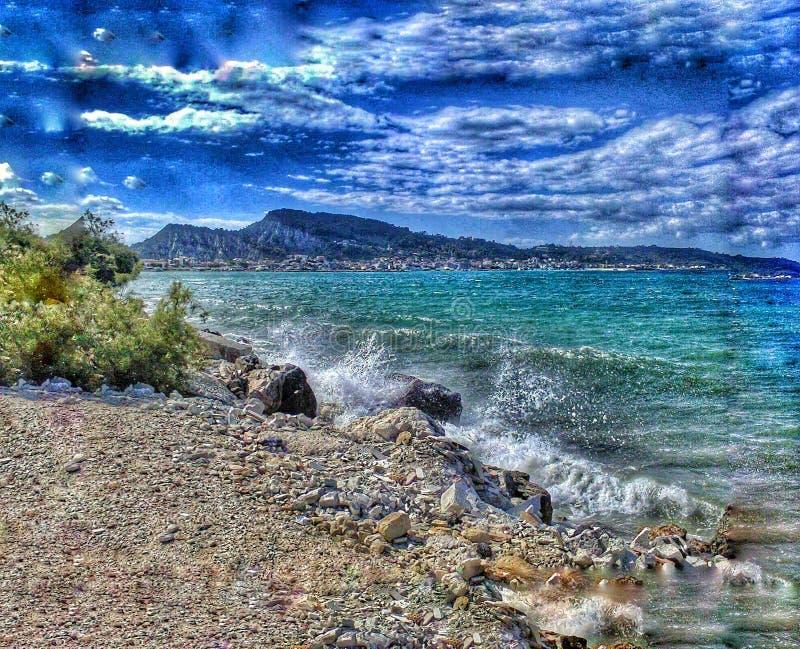 Het zeegezicht van Zakynthos stock afbeelding