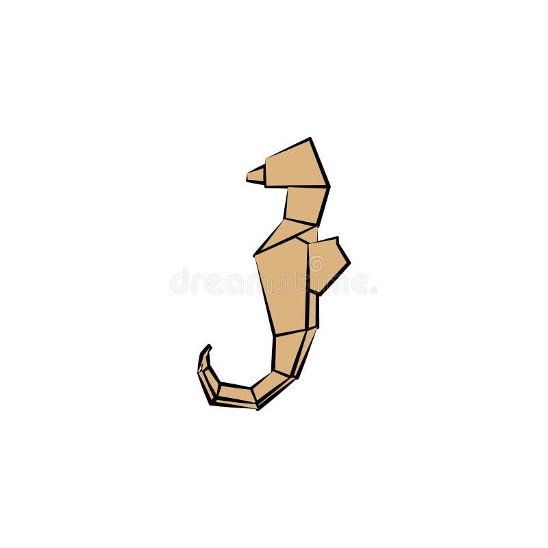 het zeepaardje gekleurde pictogram van de origamistijl Element van dierenpictogram Gemaakt van document in vector de Illustratiez stock illustratie