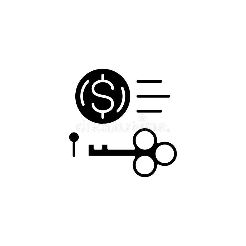 Het zeer belangrijke concept van het opbrengst zwarte pictogram Zeer belangrijk opbrengst vlak vectorsymbool, teken, illustratie royalty-vrije illustratie