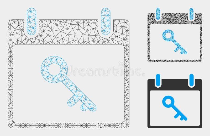 Het zeer belangrijke Vector het Netwerk 2D Model van de Kalenderdag en Pictogram van het Driehoeksmozaïek royalty-vrije illustratie