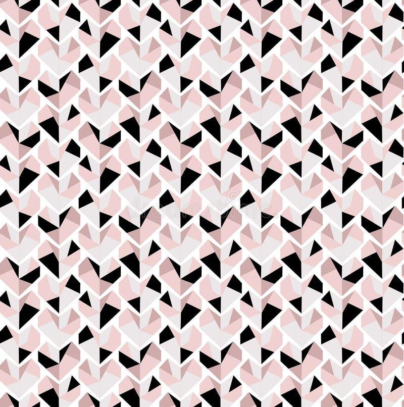 Het zeer gevoelige naadloze patroon van het Diamanthart in grijze zwarte en roze tonen royalty-vrije illustratie