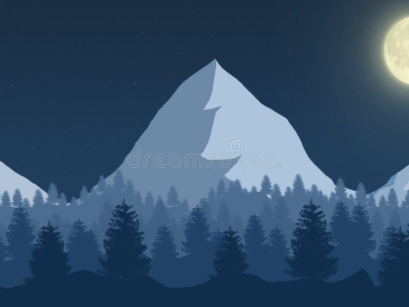 Het zeer mooie landschap van de Bergnacht stock illustratie