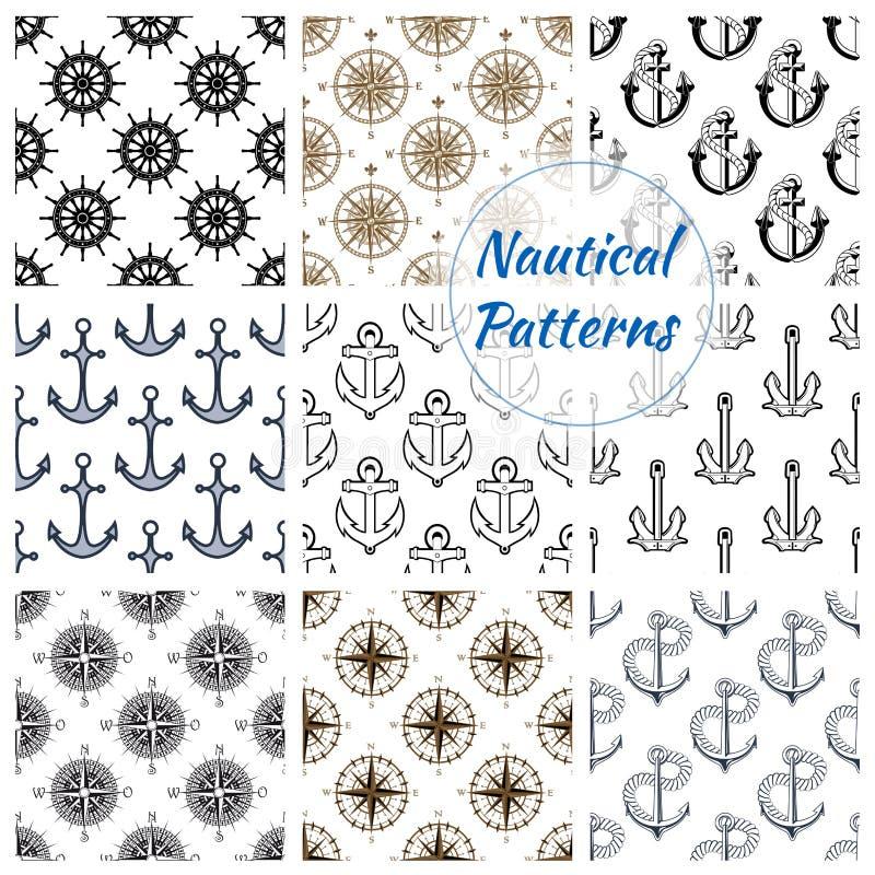 Het zeevaartanker, rijdt naadloze geplaatste patronen vector illustratie