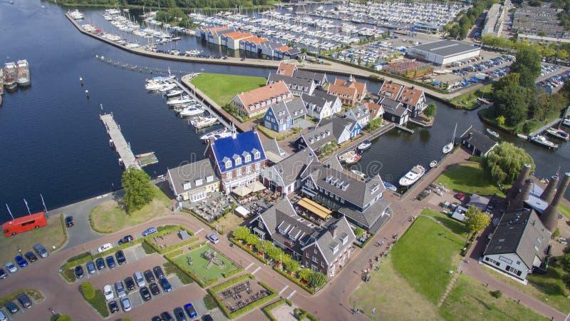 Het zeevaartdistrict in Huizen, Nederland stock fotografie