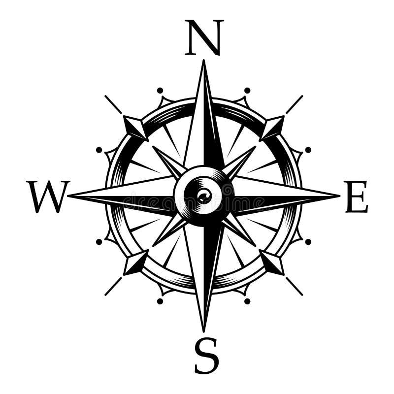 Het zeevaartkompas en de wind namen concept toe stock illustratie