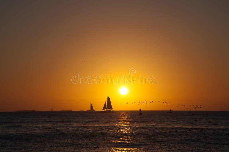 Het zeil van de zonsondergang royalty-vrije stock foto