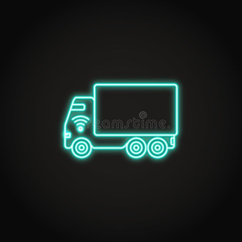 Het zelf-drijft pictogram van het vrachtwagenneon in lijnstijl vector illustratie