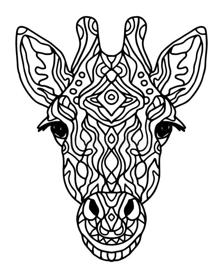 Het Zentangle gestileerde hoofd van de krabbel vectorgiraf De stijl van de Zenkunst Kostuums van de dierentuin de dierlijke etnis stock illustratie