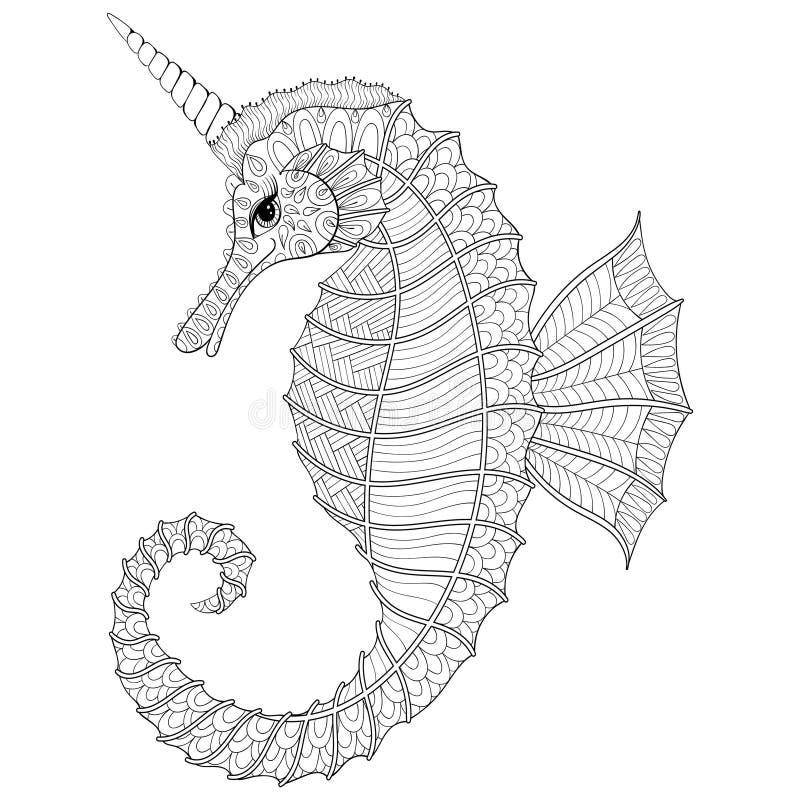Het Zentangle gestileerde Paard van de Zwarte Zee zoals Eenhoorn Getrokken hand vect vector illustratie