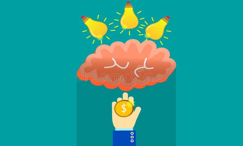Het zetten van idee in hersenen en output met geld stock foto