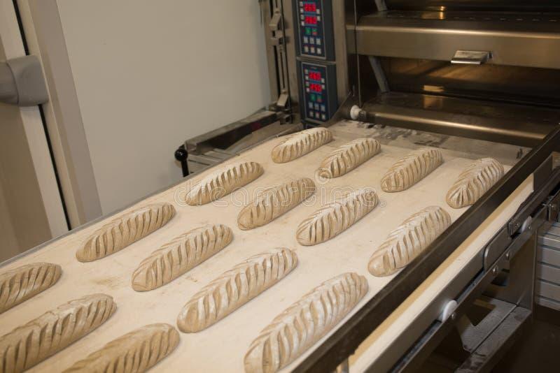 Het zetten van vers gebakken brood in het rek Productieproces van Spaans brood stock foto