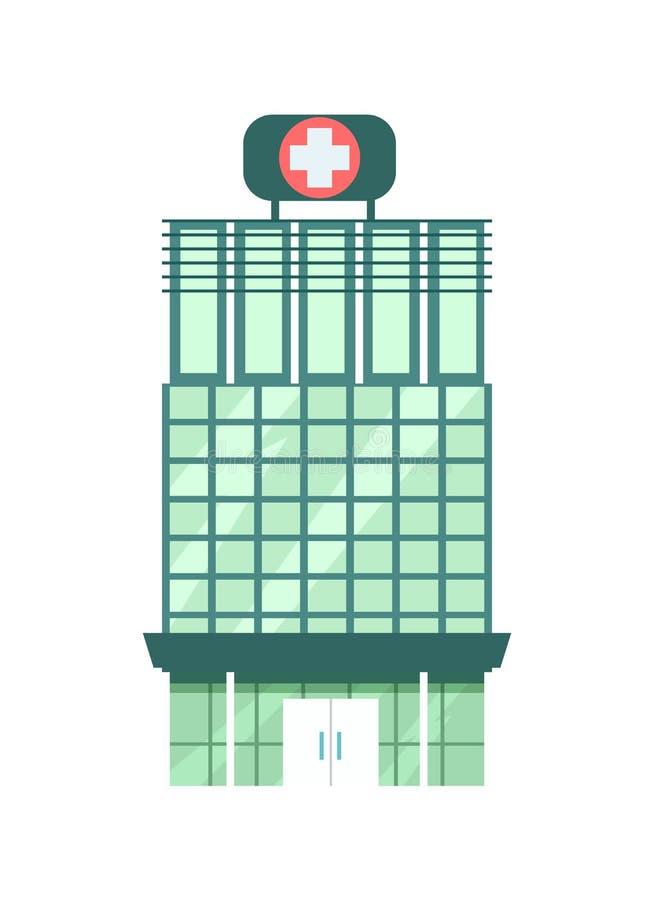 het ziekenhuis de bouw geïsoleerd pictogram vector illustratie