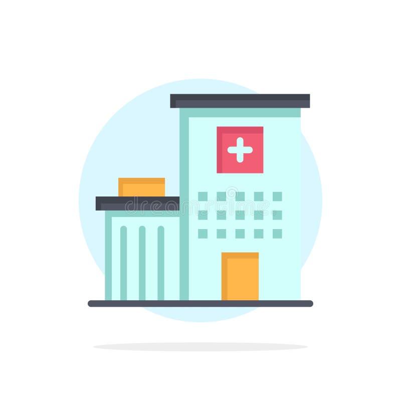 Het ziekenhuis, de Bouw, Kliniek, Medisch Abstract Cirkel Achtergrond Vlak kleurenpictogram stock illustratie