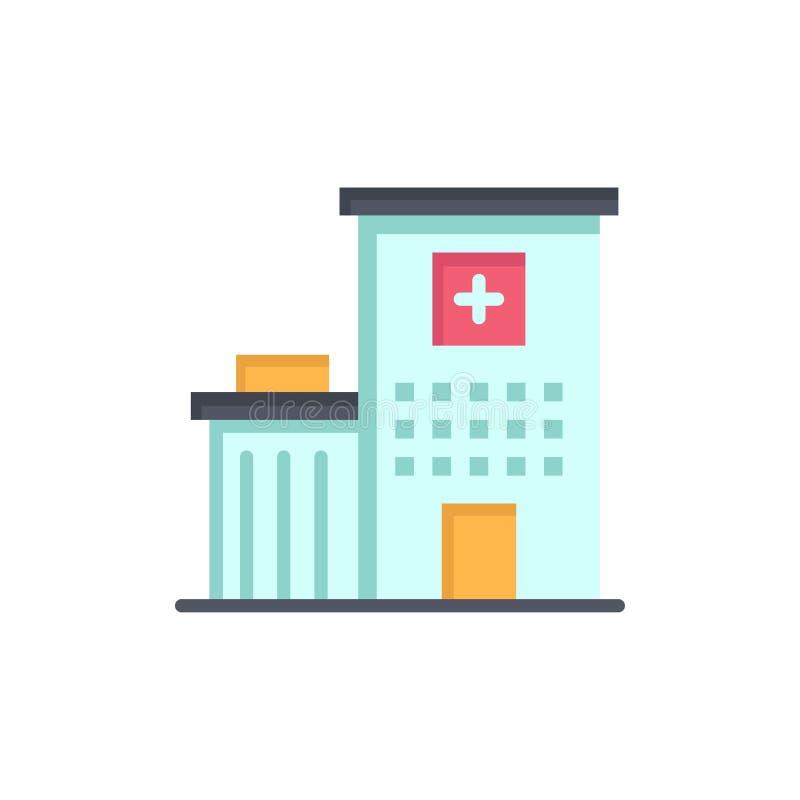 Het ziekenhuis, de Bouw, Kliniek, Medisch Vlak Kleurenpictogram Het vectormalplaatje van de pictogrambanner stock illustratie