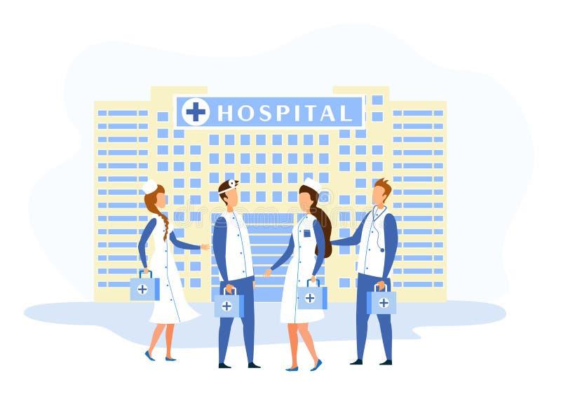 Het ziekenhuis de Bouwvoorgevel en Medisch Personeelsbeeldverhaal stock illustratie