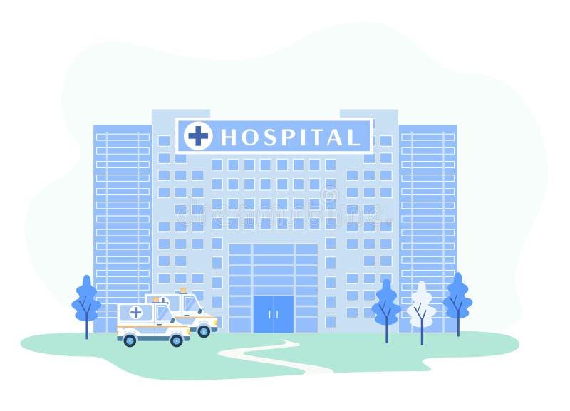 Het ziekenhuis de Bouwvoorgevel met Noodsituatieziekenwagens royalty-vrije illustratie