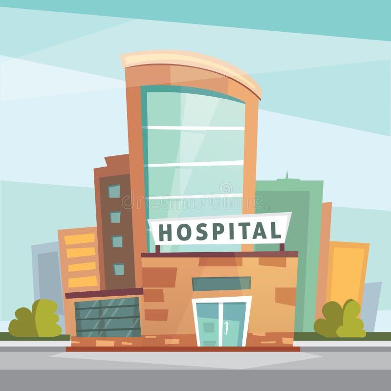 Het ziekenhuis de moderne vectorillustratie van het de bouwbeeldverhaal Medische Kliniek en stadsachtergrond De buitenkant van de stock illustratie
