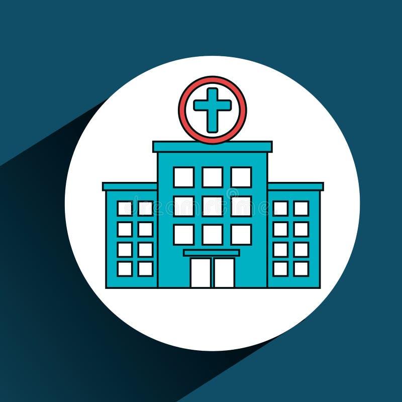 het ziekenhuis die geïsoleerd de diensten medisch bouwen stock illustratie