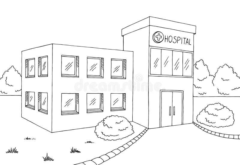 Het ziekenhuis die grafische zwarte witte schetsillustratie bouwen royalty-vrije illustratie