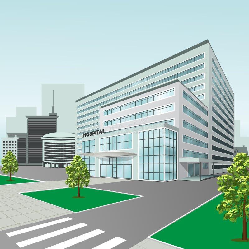 Het ziekenhuis die op stadsachtergrond voortbouwen stock illustratie