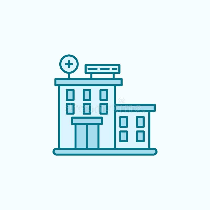 het ziekenhuis die 2 rassenbarrièrepictogram bouwen Eenvoudige kleurenelementillustratie het ziekenhuis het ontwerp van de de bou stock illustratie
