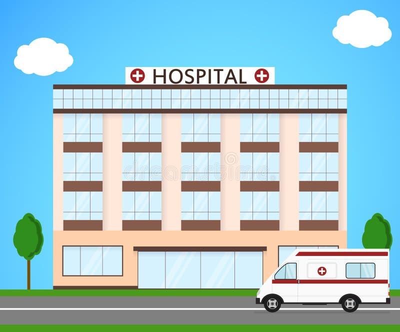 Het ziekenhuis en ziekenwagen Vlakke stijl de bouw van een kliniek royalty-vrije illustratie