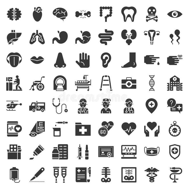 Het ziekenhuis, gezondheidszorg en farmaceutisch verwant pictogram zoals orgaan, certificaat, x-ray film, beenfractie, arts, inje royalty-vrije illustratie