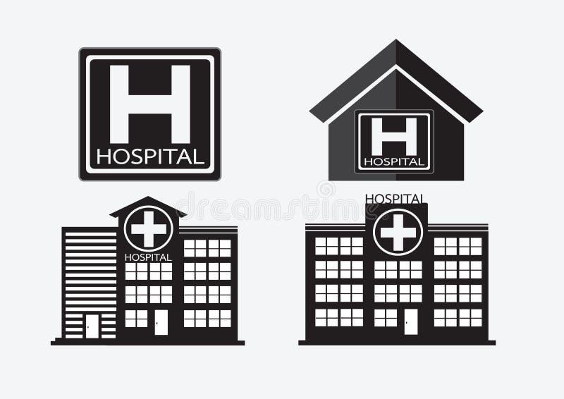 Het ziekenhuis het ontwerp van het de bouwpictogram in illustratie stock illustratie