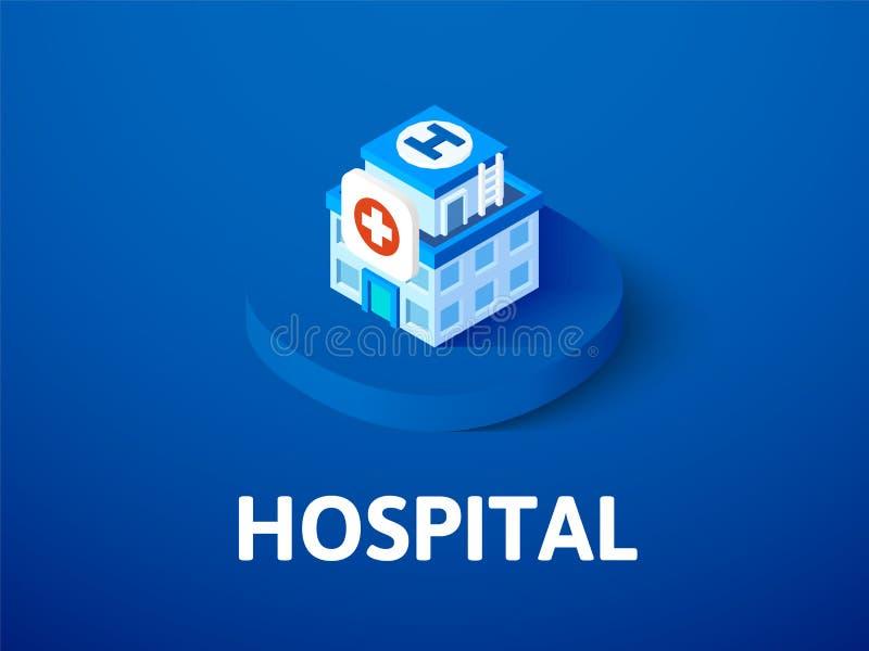 Het ziekenhuis isometrisch pictogram, dat op kleurenachtergrond wordt geïsoleerd royalty-vrije illustratie