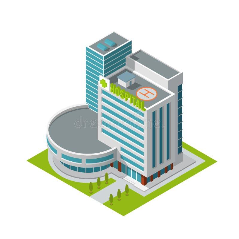 Het ziekenhuis isometrische de bouw stock illustratie