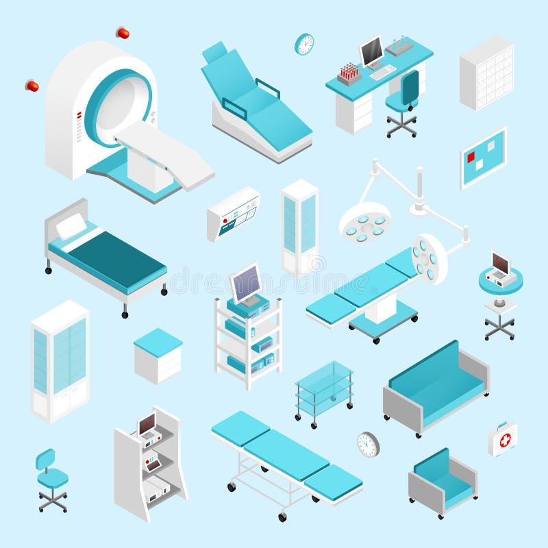 Het ziekenhuis isometrische reeks royalty-vrije illustratie