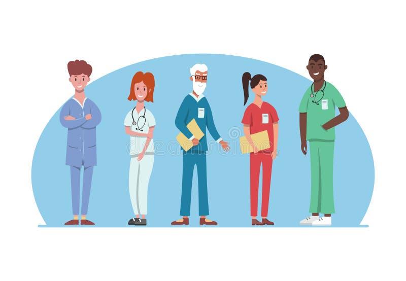 Het ziekenhuis medisch personeel in verschillende eenvormig De professionele het ziekenhuisdiensten, mannelijk en vrouwelijk arts royalty-vrije illustratie