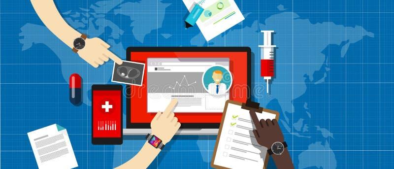 Het ziekenhuis van het de informatiesysteem van het gezondheidsmedische dossier vector illustratie