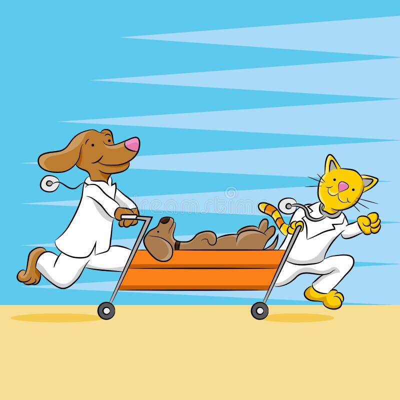 Het Ziekenhuis van het noodsituatiehuisdier stock illustratie