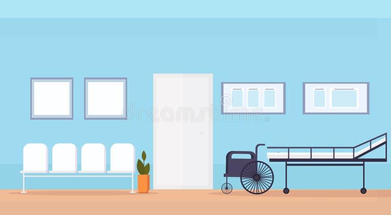 Het ziekenhuis het wachten zaal met zetelsbed en lege rolstoelmedische apparatuur geen binnenlandse horizontale vlakte van de men vector illustratie