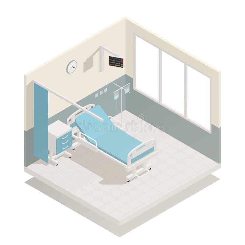 Het ziekenhuis Ward Equipment Isometric Composition stock illustratie