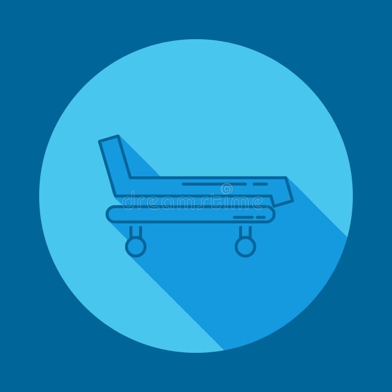 Het ziekenhuisbed en dwars vlak lang schaduwpictogram Element van geneeskundepictogram voor mobiel concept en Web apps Het lange  stock illustratie