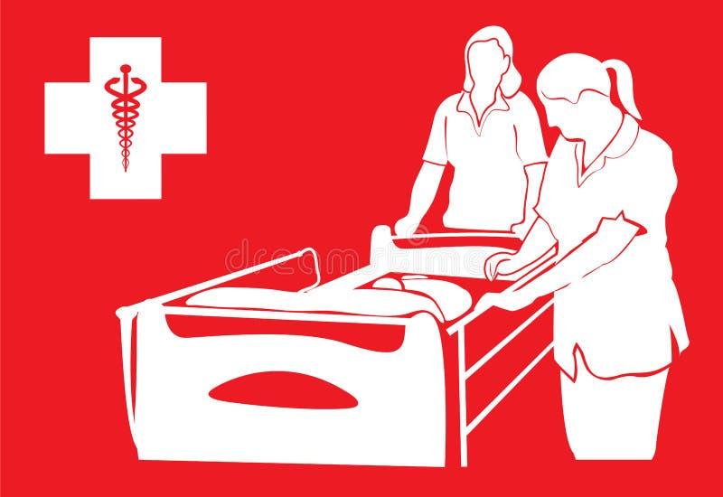Het ziekenhuisbed en verpleegsters royalty-vrije illustratie